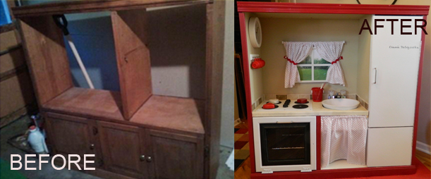 Upcycled entertainment system to a play kitchen on my for Upcycled entertainment center