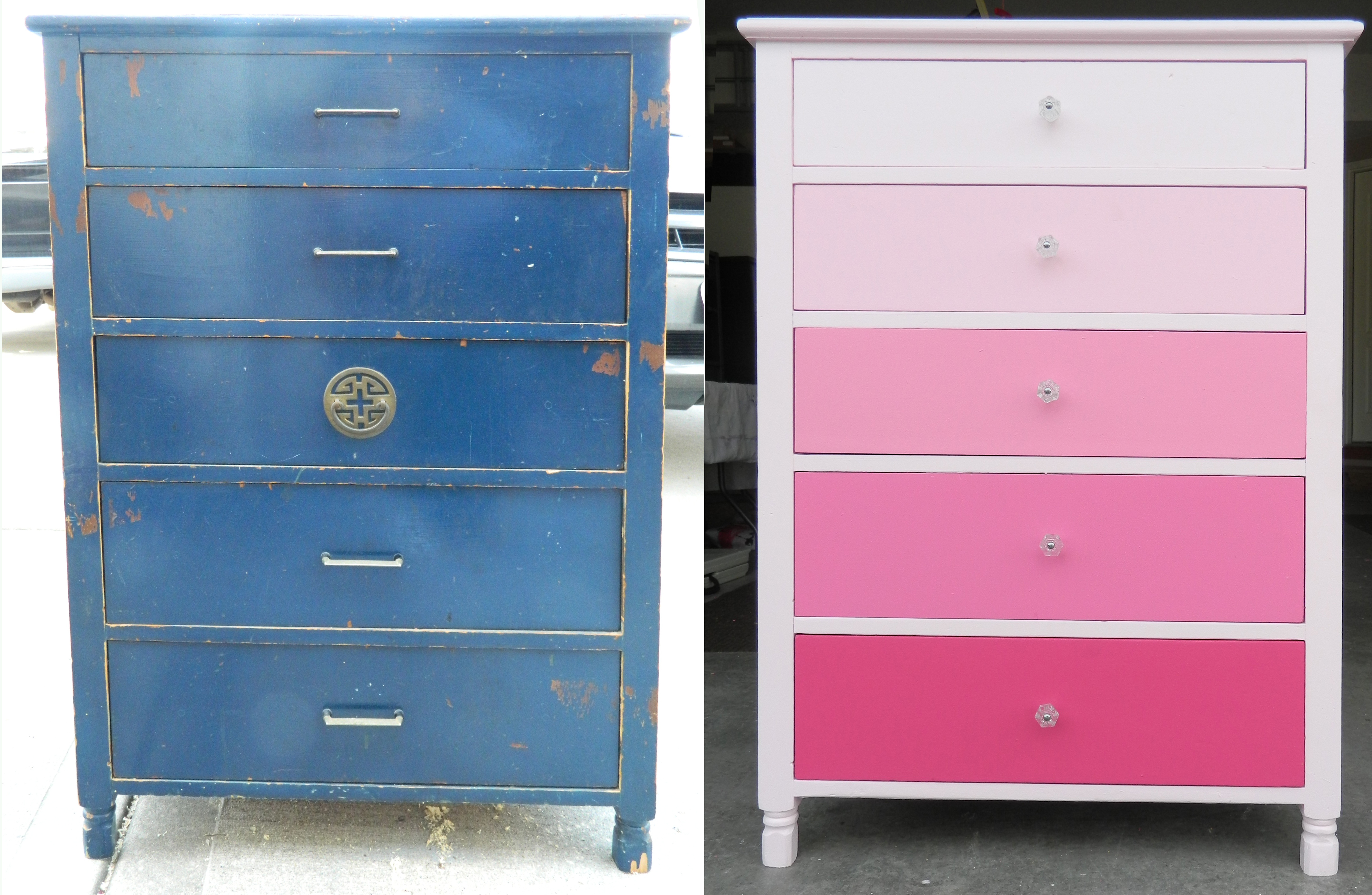 Another Dresser Transformation From Blue To Pink Ombré On My