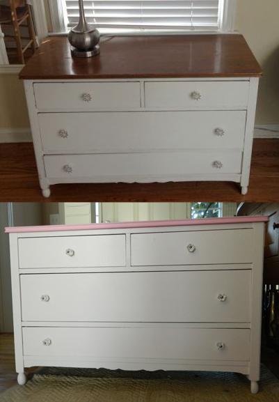 Pink Childs Dresser B&A